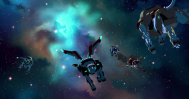The post-credit nebula scene of VLD, with the five Voltron lions flying away from the viewer toward glowing nebulae shaped like Allura (facing left) and Lotor (facing right).
