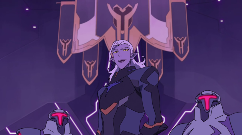 Emperor Lotor stands before a series of banners displaying the symbol of the newfound alliance between the Empire and Voltron