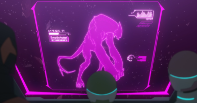 "A screenshot of VLD ""Prisoner's Dilemma"", with Pidge, Allura, and Lahn looking at a purple screen with a scan of Ranveig's Creature."